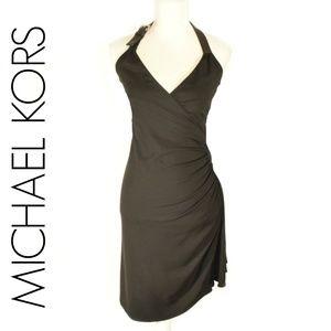 MICHAEL KORS Sexy Black Halter Cocktail Dress